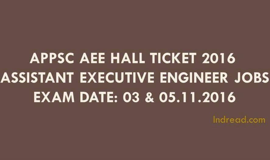 APPSC AEE Hall Ticket 2016