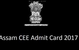 Assam CEE Admit Card 2017